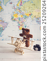 teddy bear and wooden toy airplane 25209264