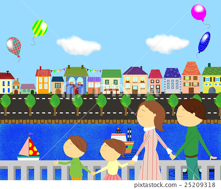 A family walking in the town 25209318