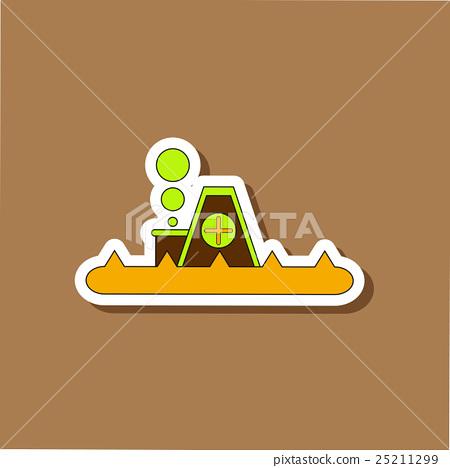 paper sticker on stylish background flood house 25211299