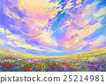 colorful flowers in field under beautiful clouds 25214981