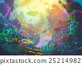 underwater with coral reef and colorful fishes 25214982