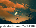 man flying with balloon lights at sunset 25214984