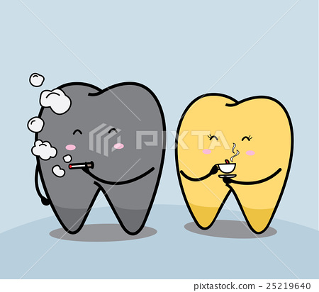 cute cartoon tooth Smoke and coffee 25219640