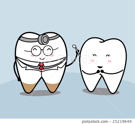 Cute Cartoon Tooth And Dentist Stock Illustration 25219649 Pixta