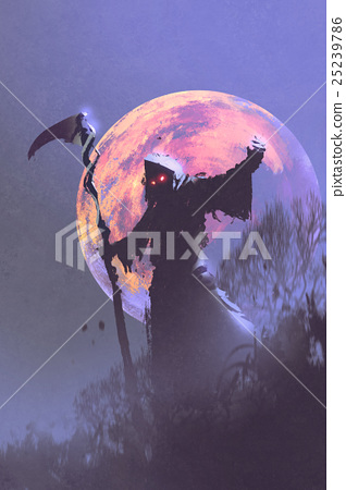 the death with scythe standing against night sky 25239786