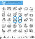 Construction Cars , thin line icons set 25248506