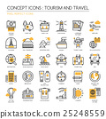 TOURISM AND TRAVEL , thin line icons set 25248559