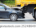 Accident on the road involving black car and yellow truck 25248649
