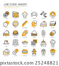 Bakery, thin line icons set , Pixel perfect icons 25248821