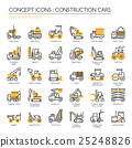 Construction Cars , thin line icons set 25248826