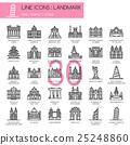 Landmark, thin line icons set ,pixel perfect icon 25248860