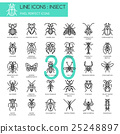 Insect , thin line icons set ,pixel perfect icon 25248897