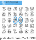 Save the world , thin line icons set  25248990