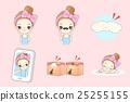 cartoon woman do facial care 25255155