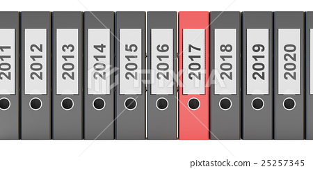 office folders new year 2017 concept, 3D rendering 25257345