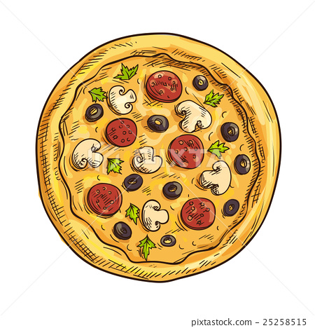 Italian pizza sketch for pizzeria and cafe design 25258515
