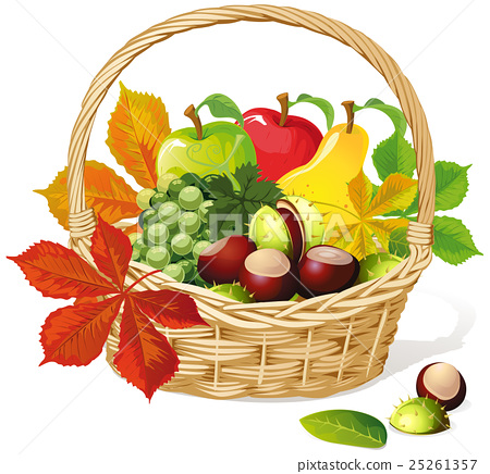 Basket with autumn fruit and vegetables 25261357