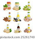 Set of Butter and Nut Oil Vector Illustrations. 25261740