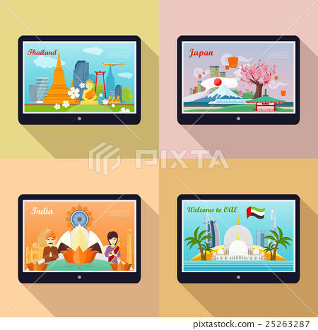 Stock Illustration: Set of Advertisement Banners. Traveling to Asia
