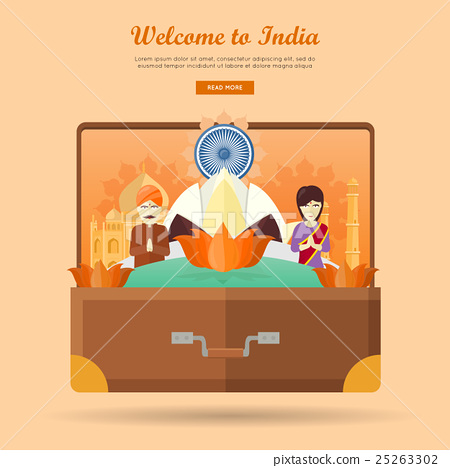Stock Illustration: India Travel Banner. Indian Landmarks in Suitcase