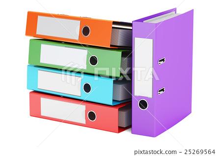 heap of colored ring binders, 3D rendering 25269564