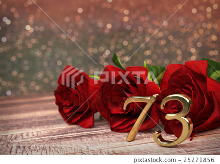 birthday concept with red roses on wooden desk 25271856