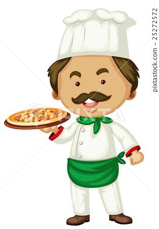 Male chef and italian pizza 25272572