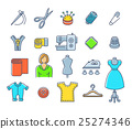 Sewing tools flat outline vector icons 25274346