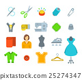 Sewing tools flat vector icons 25274347