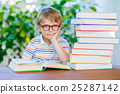 Little kid boy reading book at school 25287142