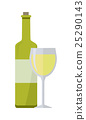 Bottle of White Wine and Glass Isolated 25290143
