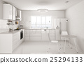 Modern white kitchen interior 3d rendering 25294133
