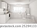 Modern white kitchen interior 3d rendering 25294133