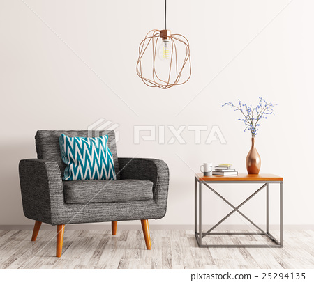 Interior with armchair and coffee table 3d render 25294135