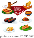 Turkish cuisine traditional dishes cartoon icon 25295862
