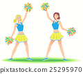 Cheerleaders with poms.Girls support team dancing. 25295970