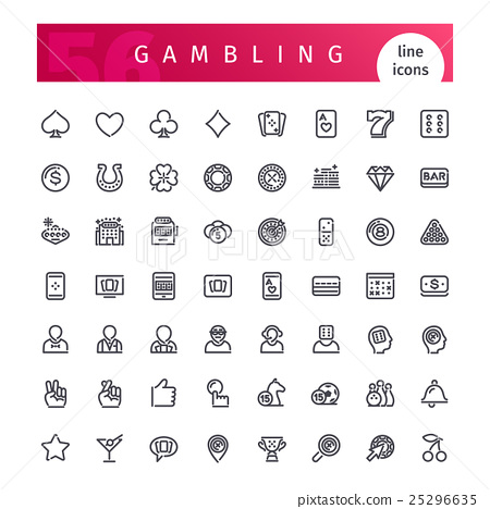 Casino Gambling  Line Icons Set 25296635