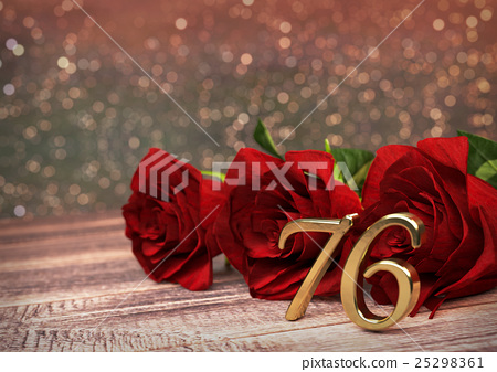 birthday concept with red roses on wooden desk 25298361