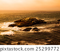 Stormy sea waves breaking on the coast rocks 25299772
