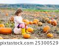 little girl farming on pumpkin patch 25300529