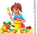 Girl is cooking with several vegetables 25300597