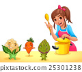 Girl is cooking with three funny vegetables 25301238