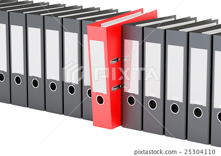 row from ring binders, 3D rendering 25304110