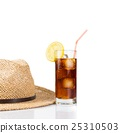 glass of fresh coke with straw near summer hat, summer time 25310503