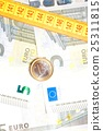 money euro coin on banknotes near measure tape 25311815