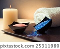 Spa massage border background with towel stacked, candle and sea salt 25311980