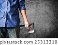 A guy holding old rusty axe, with copyspace 25313319