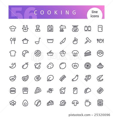 Cooking Line Icons Set 25320096