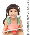 closeup of little student girl holding a tablet 25321741