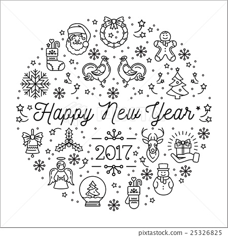 Happy New Year 2017 vector template, Elegant - Stock Illustration ...